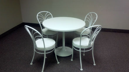 lunch room table and chairs - white