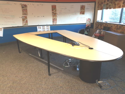 'Triangular boardroom table  Maple laminate