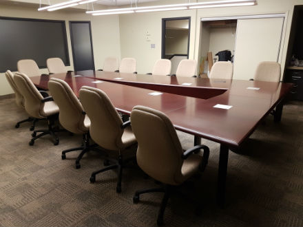Wood Veneer Angled Boardroom Table Dark Cherry
