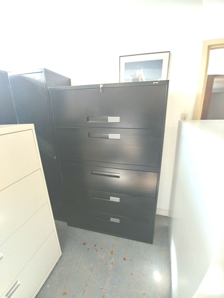 GLOBAL 5 DRAWER 42 WIDE LATERAL BLACK