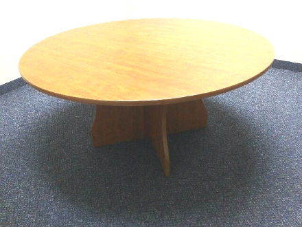 42 INCH DIA. MEETING TABLE WITH CROSS STYLE BASE