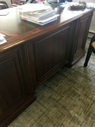 ANTIQUE LEATHER INLAY EXECUTIVE DESK