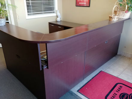 TEKNION RECEPTION WORKSTATION DARK CHERRY