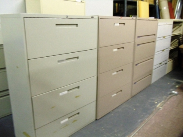 4 DRAWER LATERAL FILES - MISC. SINGLE  COLORS .