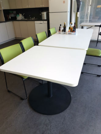 LUNCH ROOM TABLES - WHITE LAMINATE